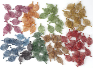 Unique Jewelry Making Supply - Flat Crocheted Leaves - Yooladesign