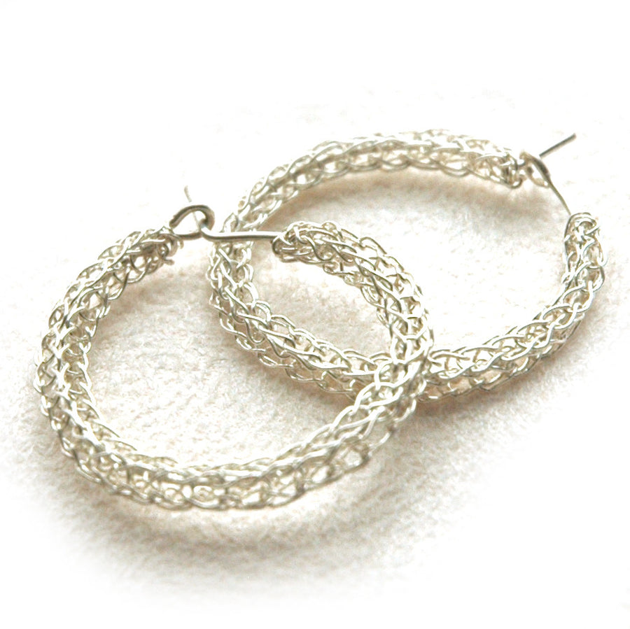 Silver hoop earrings , medium earrings - Yooladesign