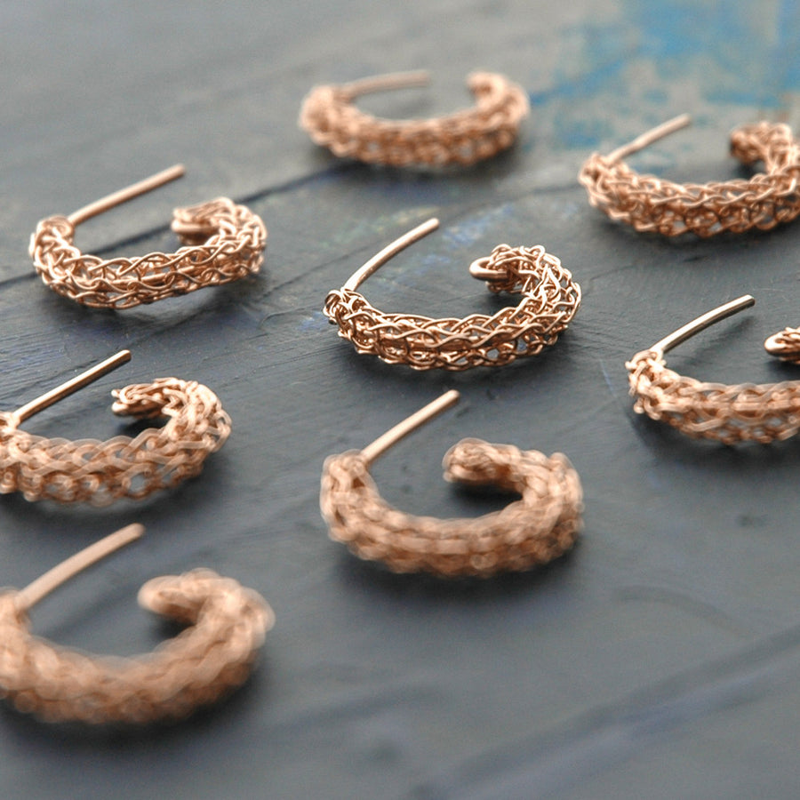 Stud hoop earrings , small rose gold post earrings - Yooladesign