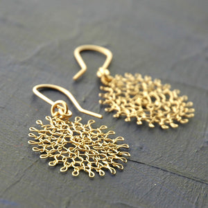 Small Flower Earrings , Gold Dangle Earrings , small Flowers , Handmade Wire Crochet Jewelry - Yooladesign