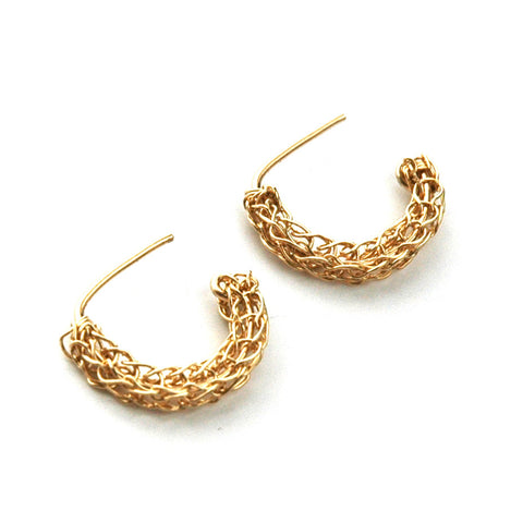 Stud hoop earrings , small gold post earrings - Yooladesign