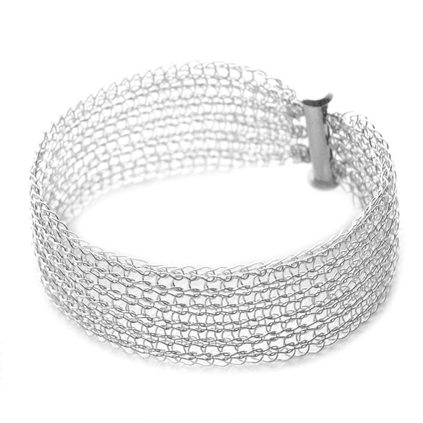 Narrow Silver cuff bracelet Knitted jewelry