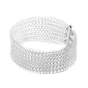 Narrow Silver cuff bracelet Knitted jewelry - Yooladesign