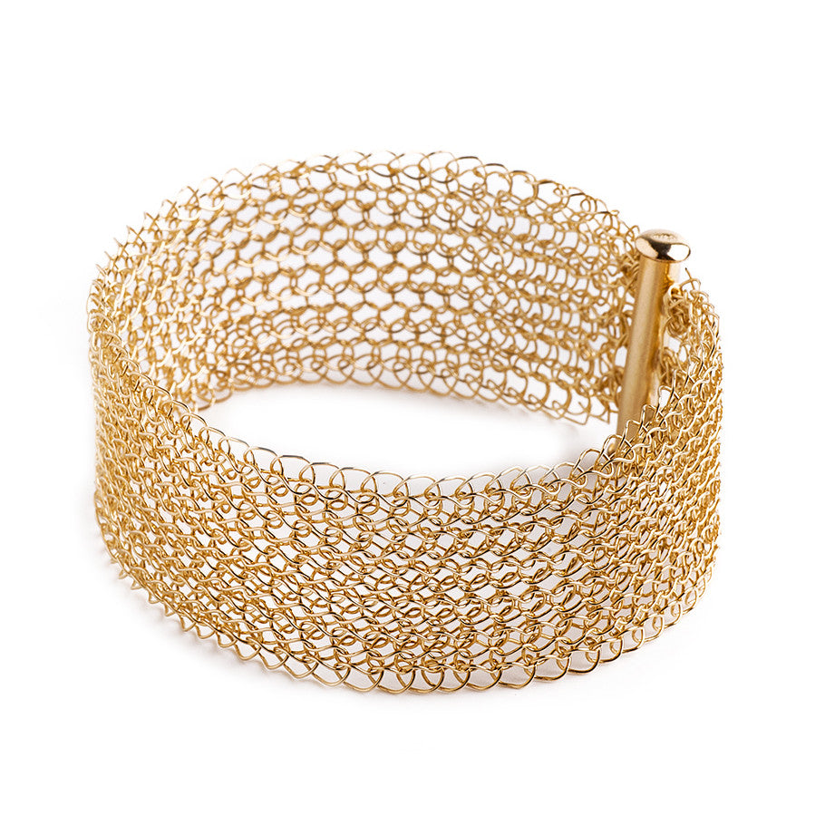 Narrow gold cuff bracelet Knitted jewelry - Yooladesign