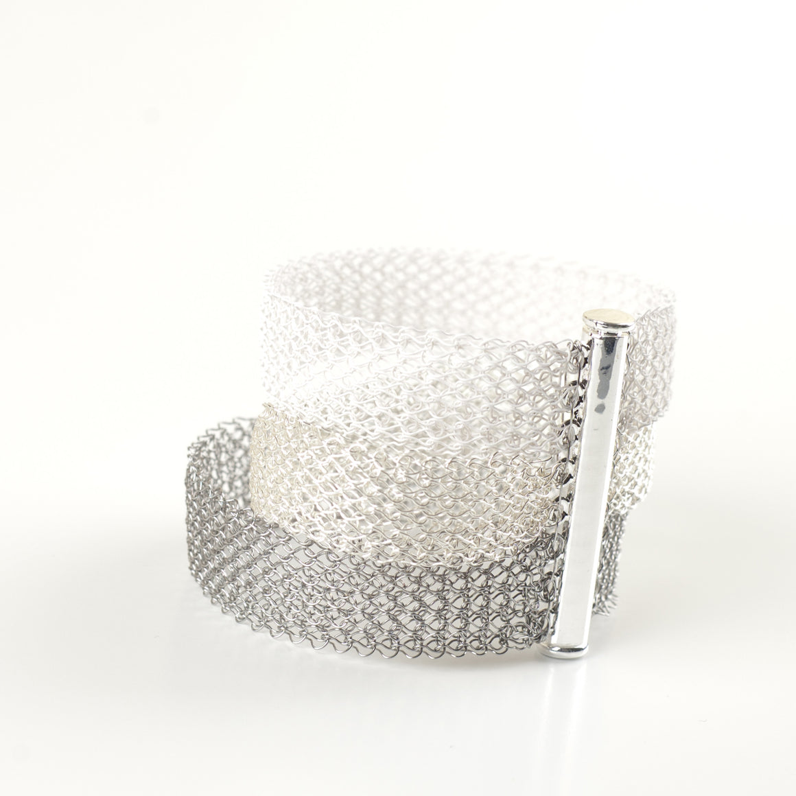 Ombre Bracelet, Layered Bracelet , ultra white, silver & steel - Yooladesign