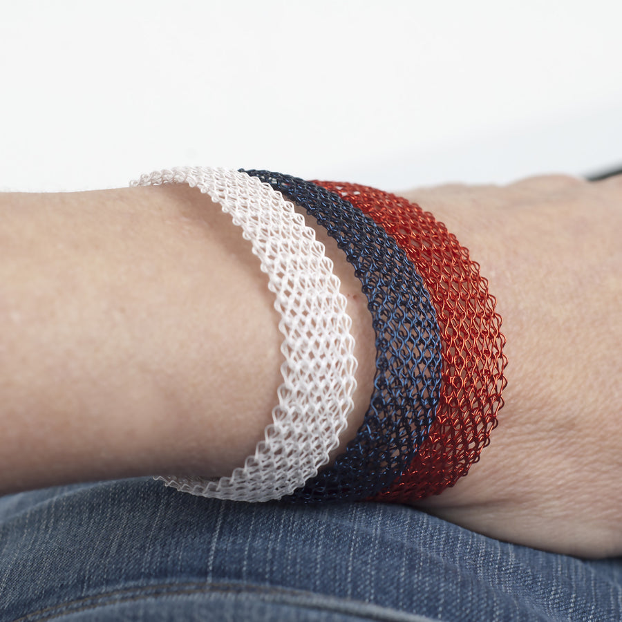 NAUTICAL  Layered Bracelet , white Blue & Red - Yooladesign