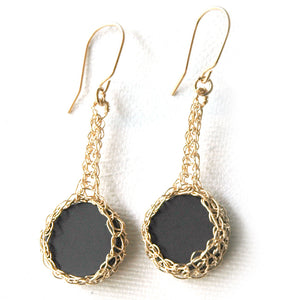 Black Onyx Earrings , Onyx Coins Set nested in Crocheted Gold - Yooladesign