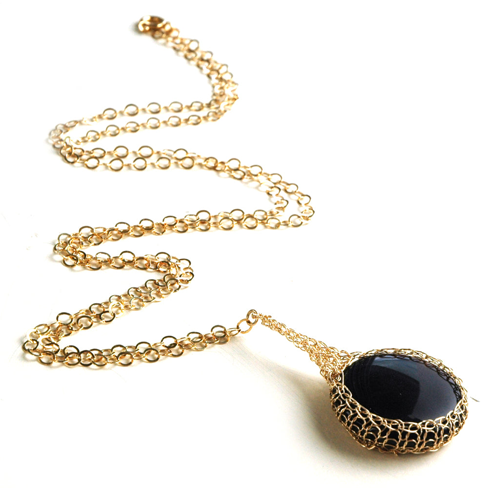 Black Onyx  pendant necklace, nested in gold wire crochet - Yooladesign
