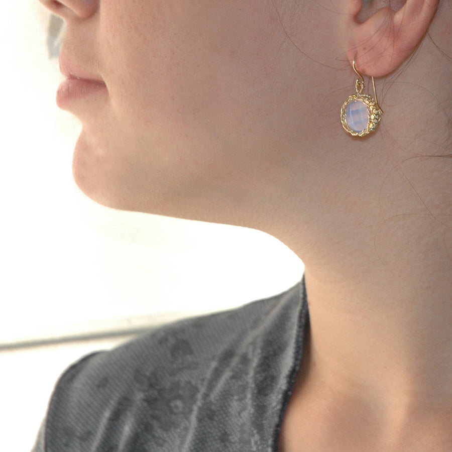 Opalite earrings - wire crochet dangle earrings in gold filled - Yooladesign