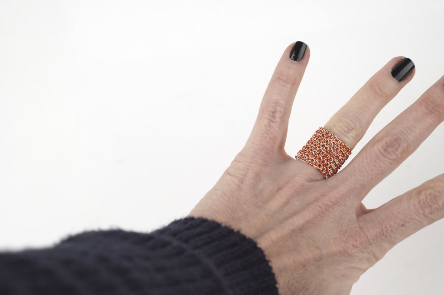 Nautical Wire crocheted band ring - Yooladesign