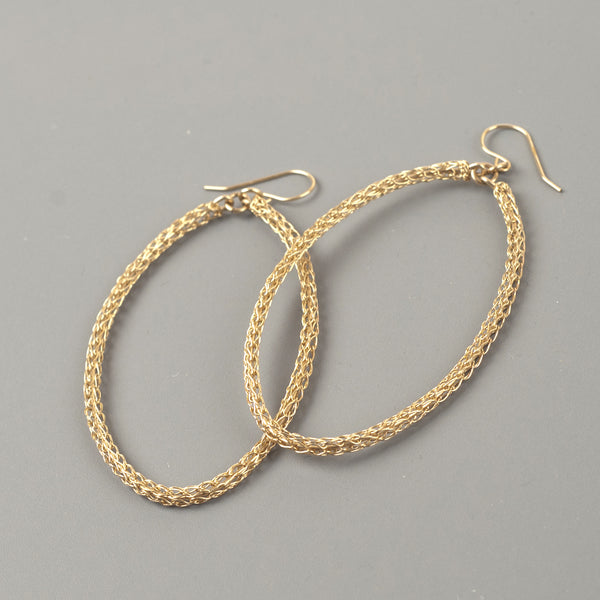SOLD - Oval dangle hoop earnings
