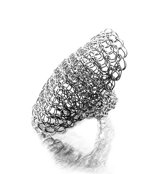 Full finger ring in oxidized  silver - Yooladesign