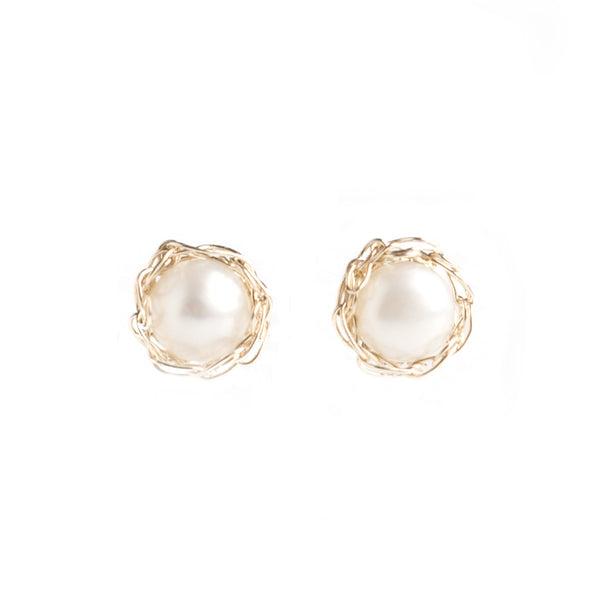 Pure Small Pearl Stud Earrings Gold Pearl Post Earrings
