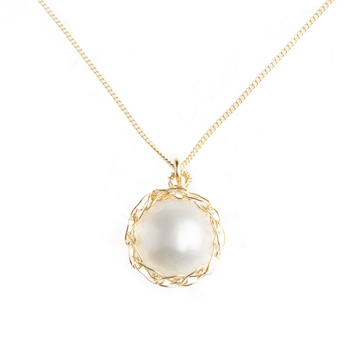 LARGE Gold pearl necklace - Pearl jewelry - Yooladesign