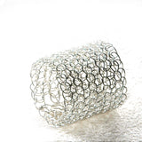 Wire crocheted band ring , silver ring - Yooladesign