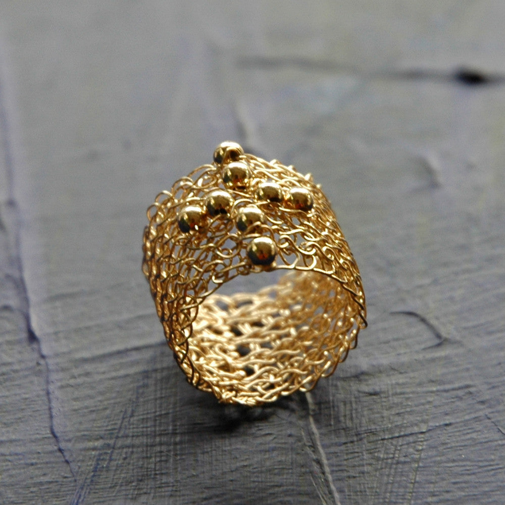 Wire Crochet Band Ring With Cross , Gold Filled Jewelry - Yooladesign