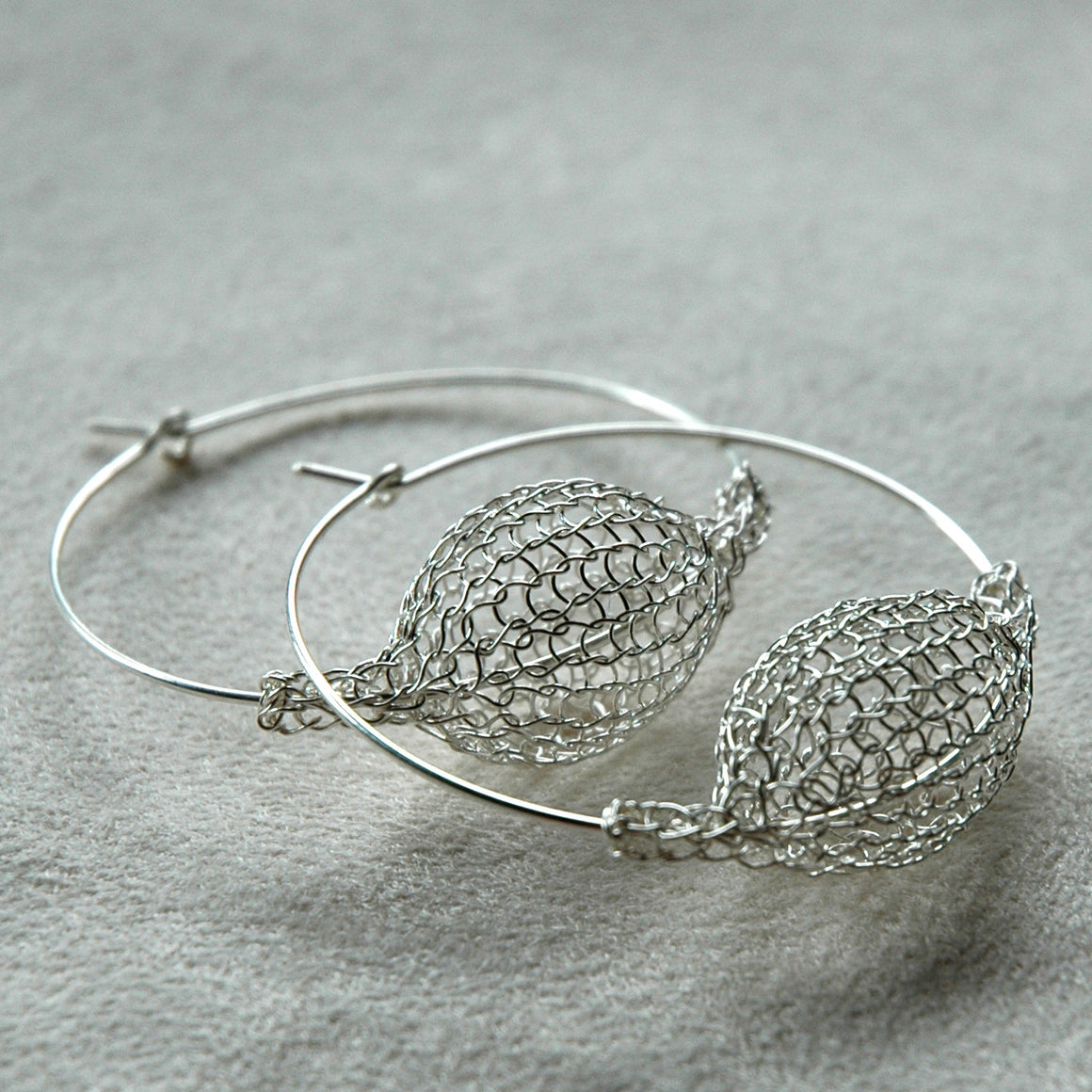 Large Silver Hoop Earrings , Bubble Pod Hoops - Yooladesign
