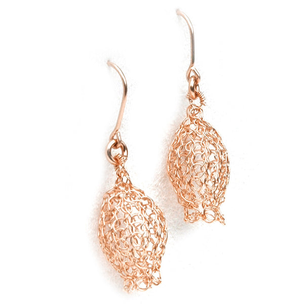 Dangle knitted ROSE gold earrings Pomegranate earrings - Yooladesign