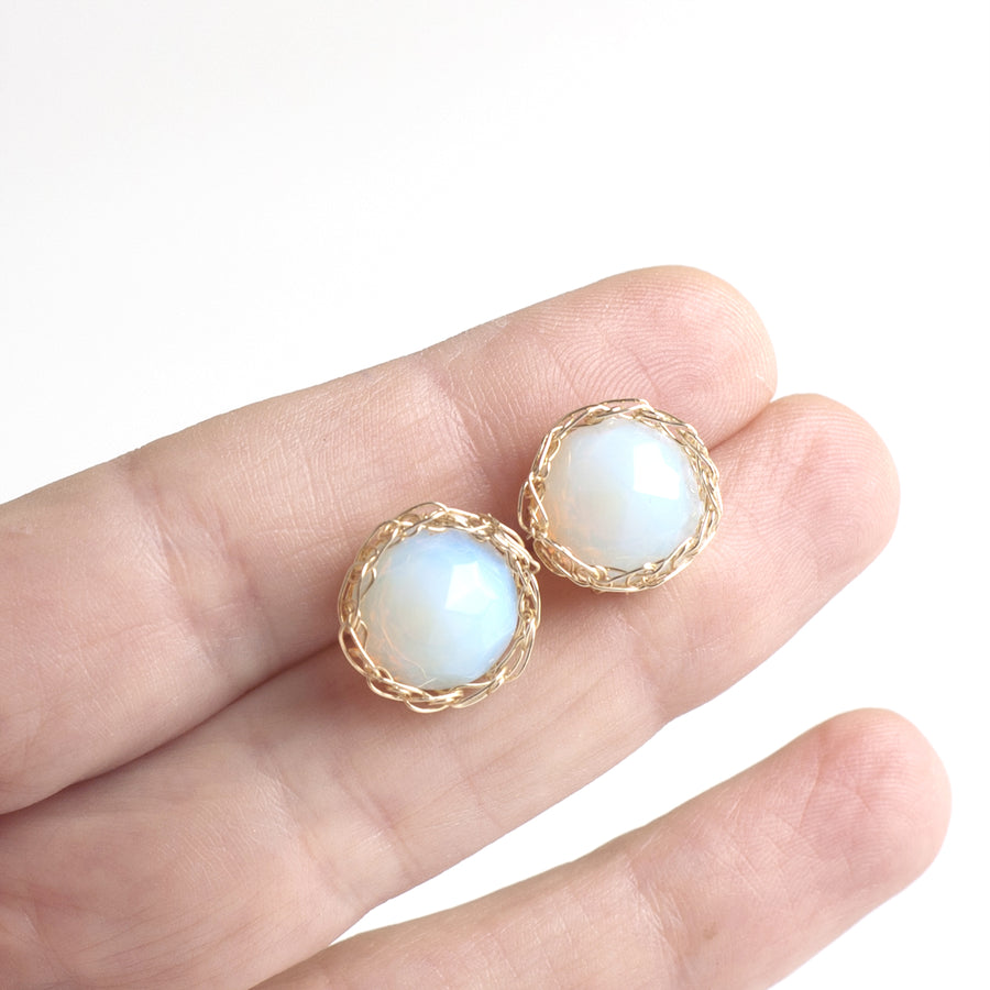 Opalite Stud earrings, Milky post earrings - Yooladesign