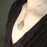 Prehnite necklace, pendant charm necklace, strengthen your intuition - Yooladesign