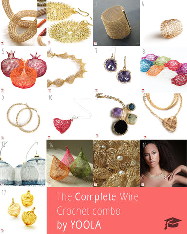 Complete wire crochet tutorials instructions pack - Yooladesign