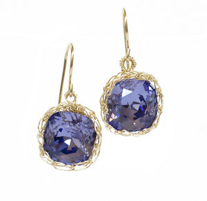 Violet Swarovski glass crystal earrings , purple dangle earrings in gold filled - Yooladesign