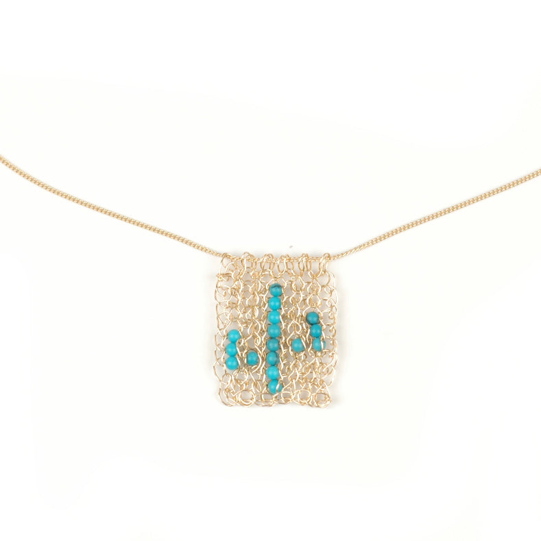 Rectangel Cactus necklace - gold and turquoise - Yooladesign