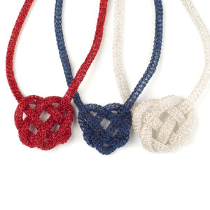 BOLD Celtic heart knot necklace , wire crochet - Yooladesign