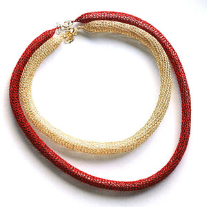 Layered necklace - Wire crochet necklace- red gold modern necklace - Yooladesign