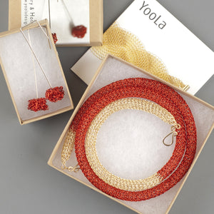 Long RED & Gold Statement Necklace - Yooladesign