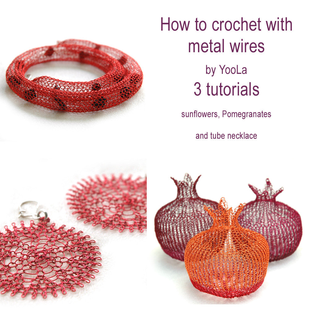 3 RED wire crochet pdf patterns , pomegranate, flower and a tube - Yooladesign