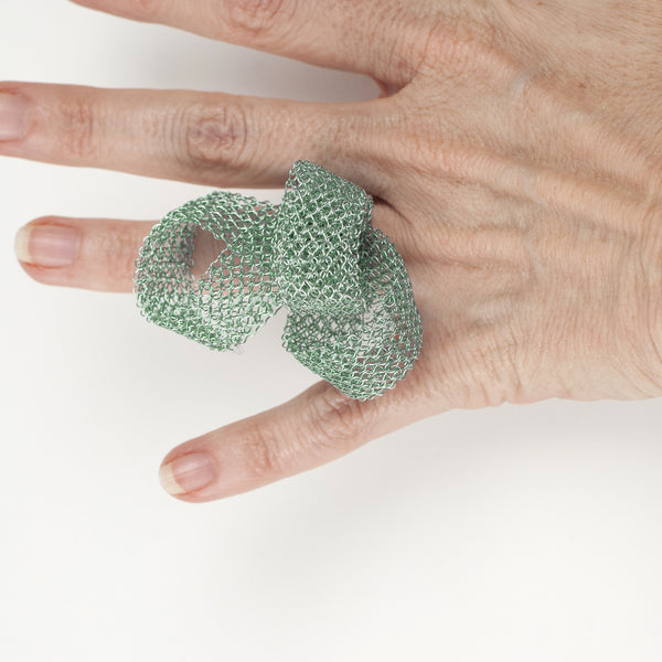 RIBBON statement ring - Wire crochet art jewelry - Yooladesign