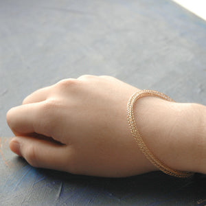 Rose Gold bangle bracelet , wire crochted bangle - Yooladesign