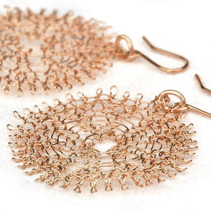 Large Rose Gold Flower Earrings , Wire Crochet Handmade Dangle Earrings - Yooladesign