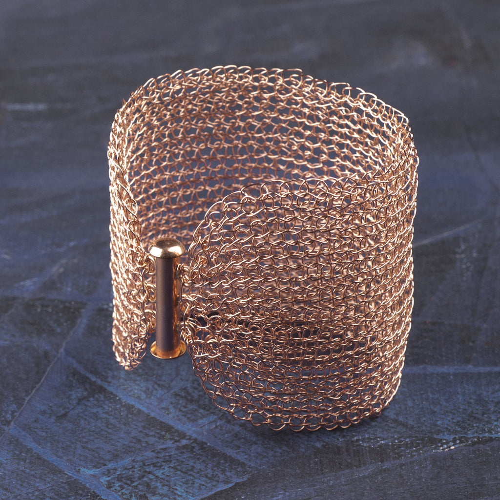 Rose Gold Cuff Bracelet Wire crochet handmade jewelry romantic