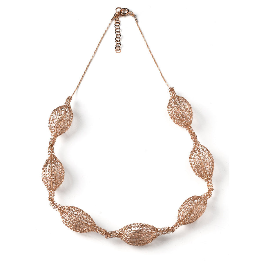 ROSE GOLD necklace - 7 Crocheted organic pods on a chain - Yooladesign