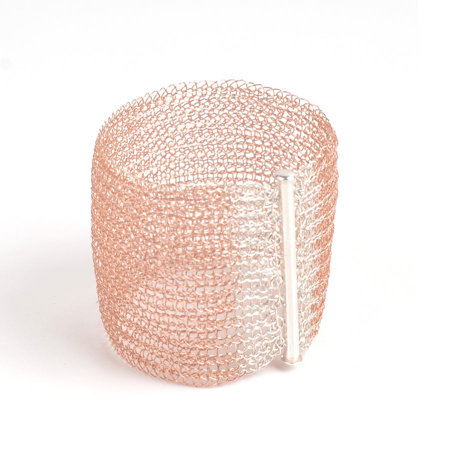 Rose Gold Cuff Bracelet with a sterling silver clasp - Yooladesign