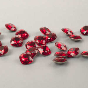 Ruby red Swarovski crystals 12mm faceted cushion - Yooladesign