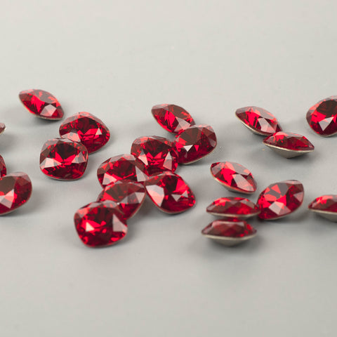 Ruby red Swarovski crystals 12mm faceted cushion