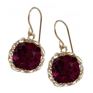 Swarovski Ruby earrings , sparkly red dangle earrings in gold filled - Yooladesign
