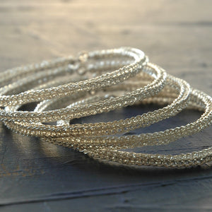 Three silver wire crocheted bangles , handmade , unique design , urban jewelry - Yooladesign