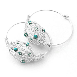Silver Hoop Earrings - Turquoise beads , Amethyst and Silver Earrings - Yooladesign