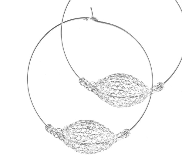 Silver Jumbo Hoop Earrings , Wire Crochet Bubble Pod - Yooladesign
