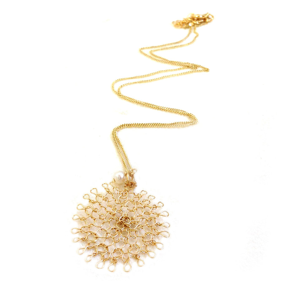 Small flower pendant necklace , Wire crochet flower in gold - Yooladesign