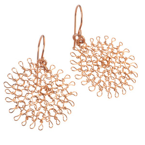 Rose Gold Daisy Earrings , Handmade Dangle Flower Earrings , Wire Crochet Earrings - Yooladesign