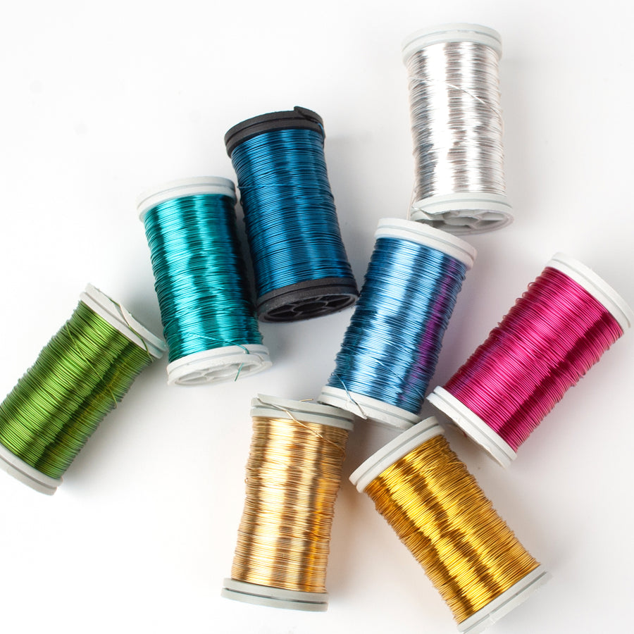 NEW shades coated copper Wires , 65 feet spools, limited stock of each color !