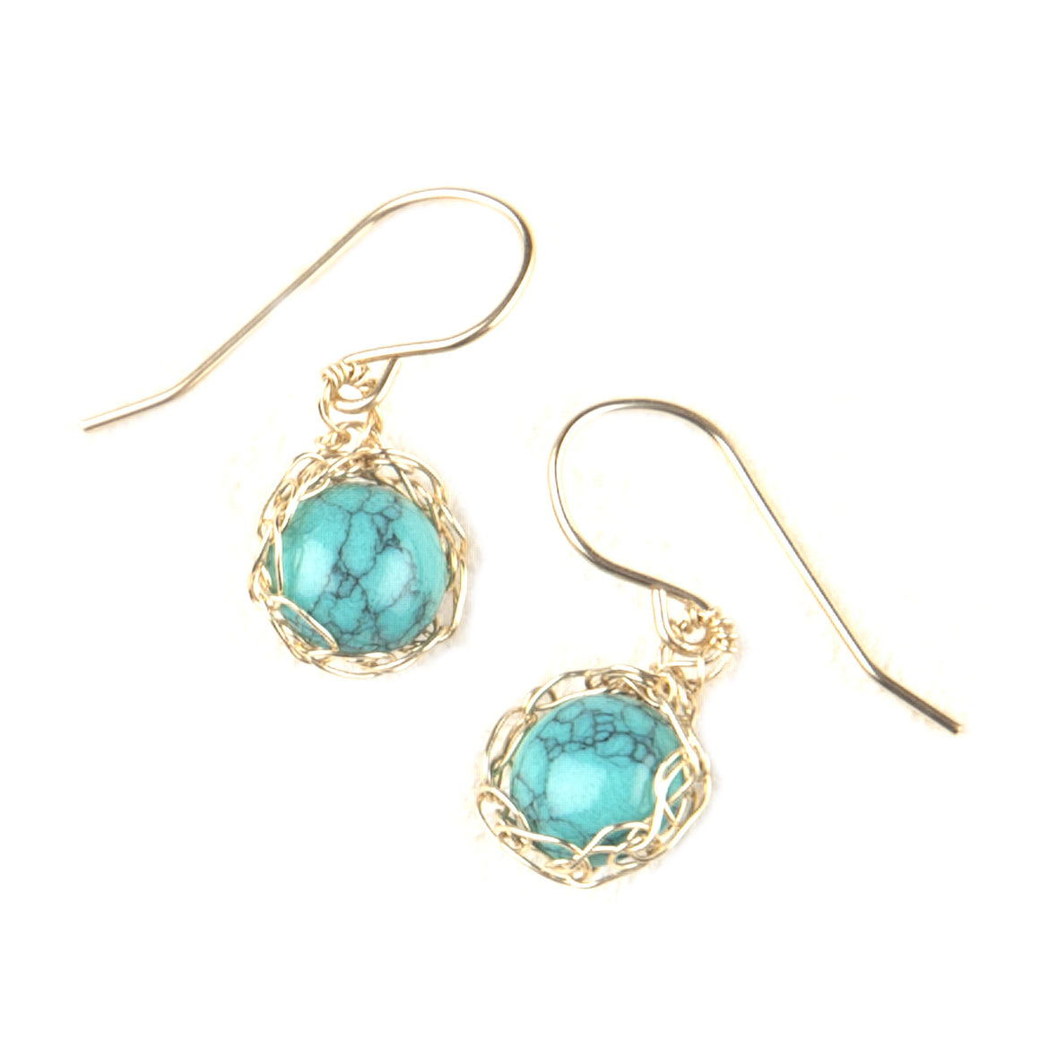 Dangle Turquoise earrings , Small Turquoise wire crochet earrings , nested in gold filled - Yooladesign