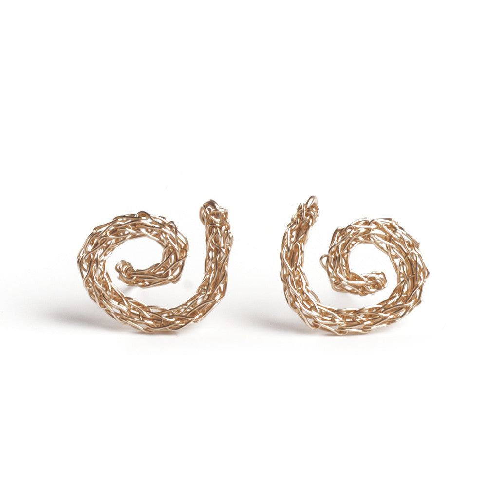 Gold Spiral Earrings , Handmade Wire Crochet Jewelry , Post Earrings , Stud Earrings , Gold Earrings - Yooladesign
