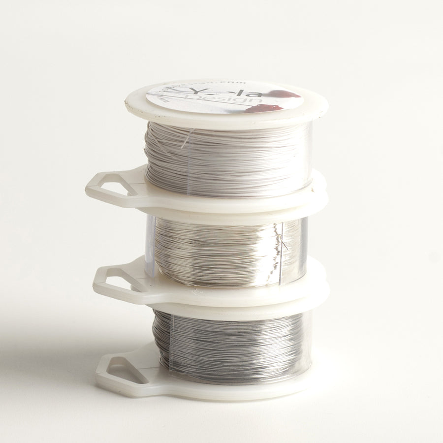 NEW Craft Wire - White, Silver, Steel - 3 Extra long wire spools - 360 feet total - Yooladesign
