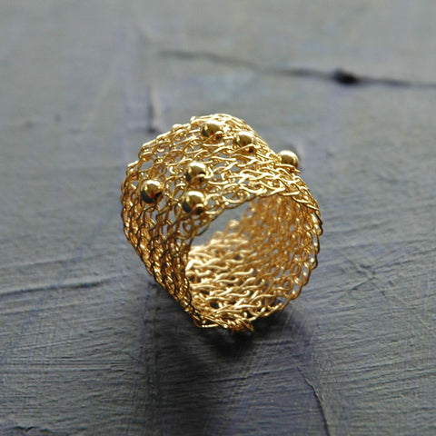 Gold Ring with Sporadic Beads , Wire Crochet Jewelry , Gold Filled Ring - Yooladesign
